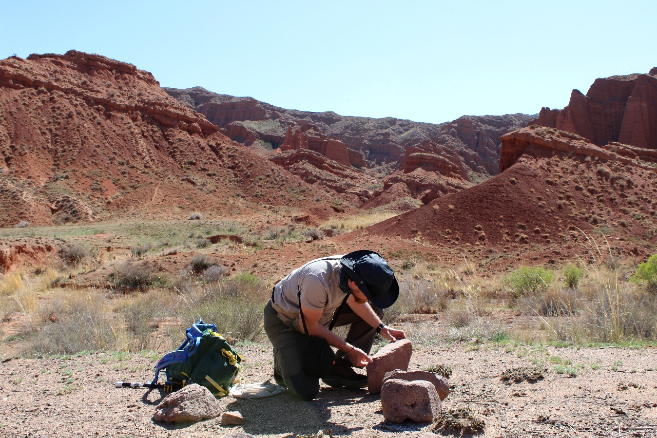 Ricerca degli invertebrati nel Konorchek Canyon Ricerca degli invertebrati nel Konorchek Canyon